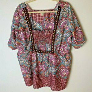 One World Top Size 1X Paisley Short Sleeves Casual